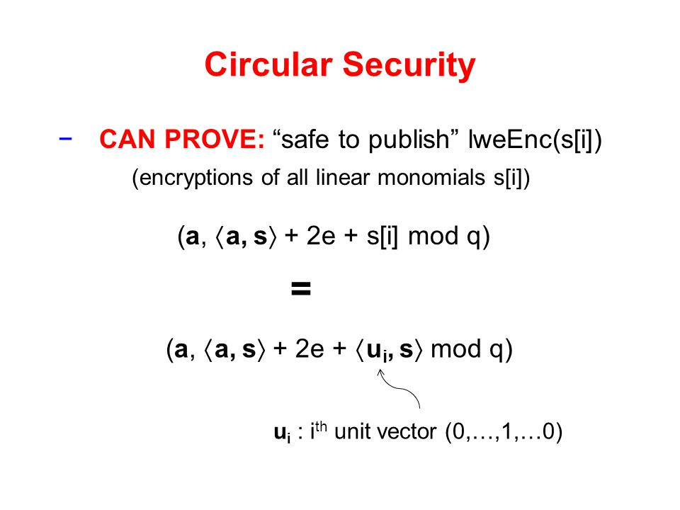 = Circular Security CAN PROVE: safe to publish lweEnc(s[i])